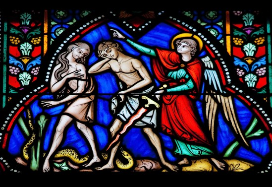 Adam and Eve expelled from the Garden of Eden - stained glass
